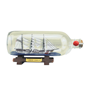Clear Glass Decorative Nautical Decor Vintage Ship In a Bottle