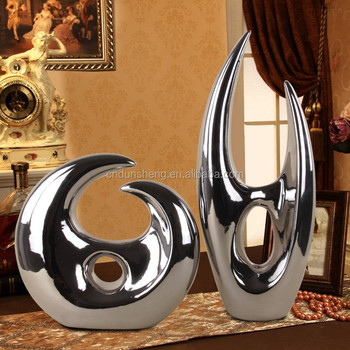 wholesale Contemporary home metallic ceramic sculpture decoration ,silver abstract sculpture