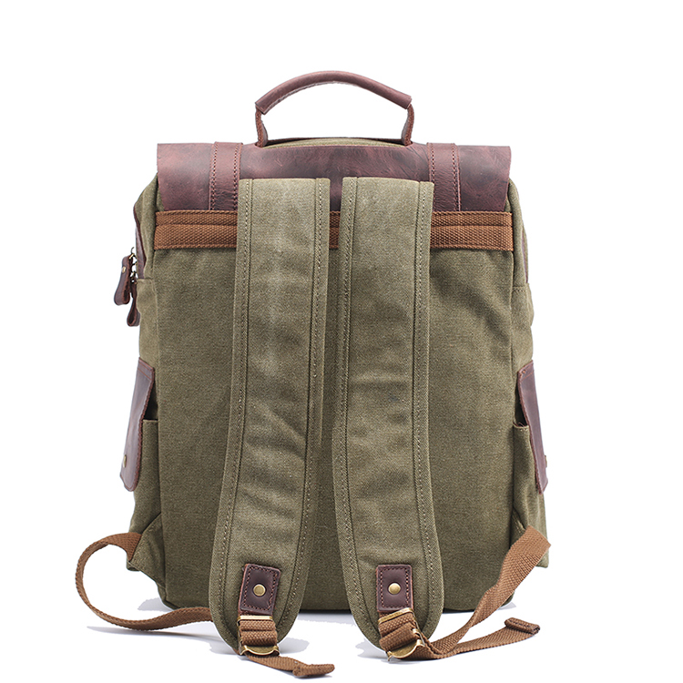 High quality famous fashion vintage designer travel school Canvas real leather Backpack for notebook 14""