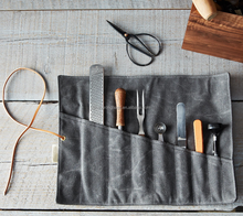 heavy duty waxed canvas tool roll up bag for carpenter