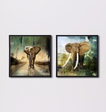 Black Frame Modern Abstract Animal Elephant Wall Art Canvas Prints Painting for Kids Room Decor