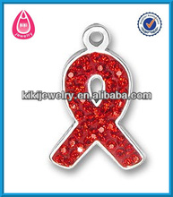 silver plated breast pave red crystal cancer awareness wholesale ribbon charms(H103939)