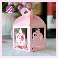 TH-117 free ribbon new design wedding favors candy box laser cut handmade candy box