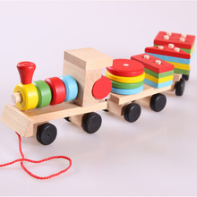 Preschool Colorful Wooden Kids train toys,educational toys Stacking Train