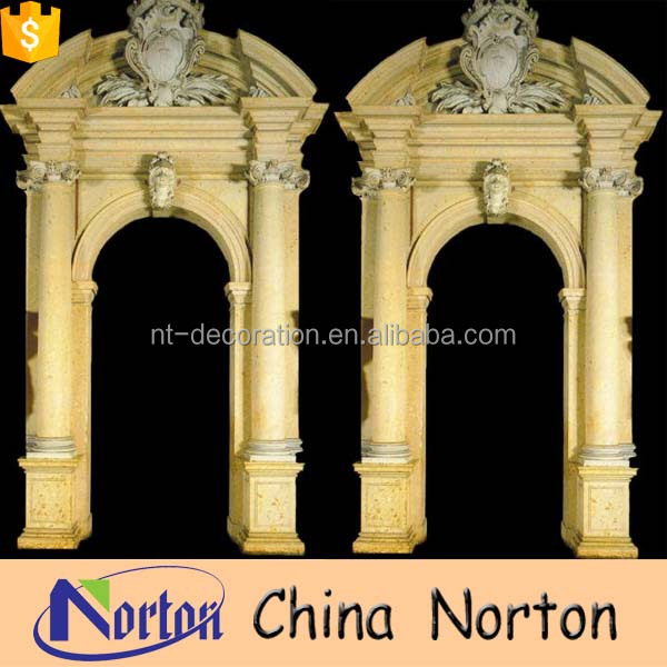 hand carved beige cream statues arch granite door frames NTMF-D004Y