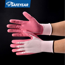 Red latex coated red cotton knitted industrial safety working gloves