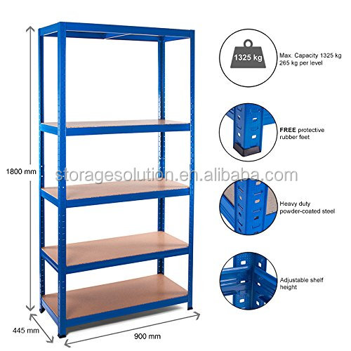 5 Tier Garage Shelving Metal Racking Steel & MDF Boltless <strong>Shelves</strong>