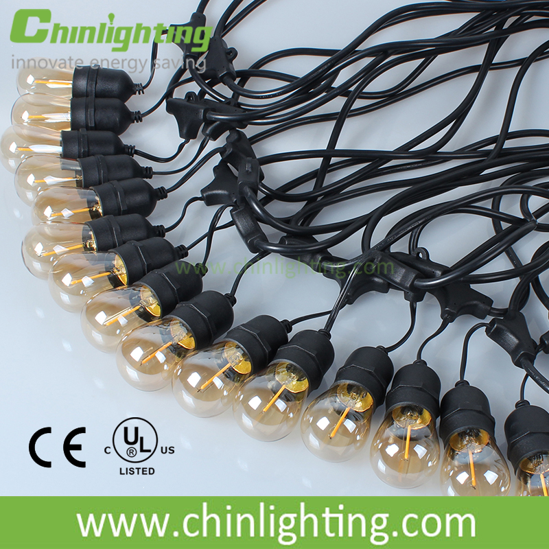 30V low voltage golden color led 48 feets waterproof s14 led string lamp