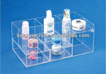 Multi-compartment clear acrylic cosmetic display case