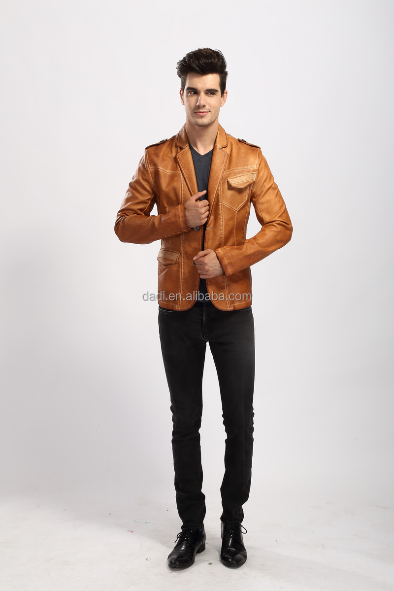 2014 Stylis Slim Fit Men PU Leather Jacket