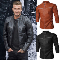 New Hot HOt New Warm Men's Leather Motorcycle Standing Collar Jackets Coat Black/Brown