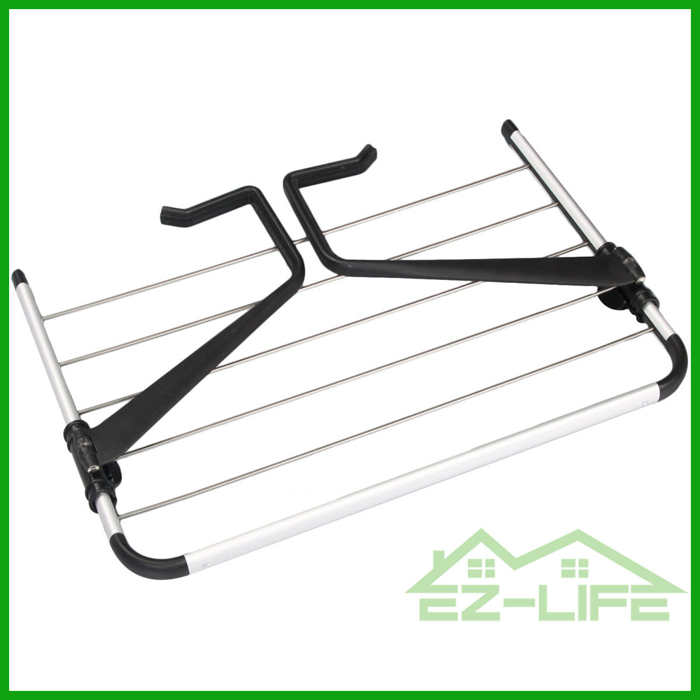 2017 Hot sale foldable wall mounted black hook aluminium cloth drying rack