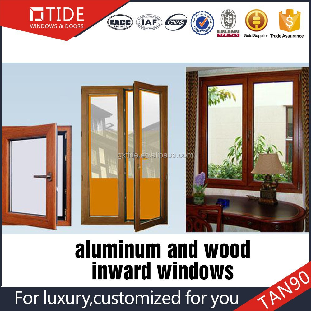 Australia AS2047 standard doule opening swing sash window aluminum wood inside window