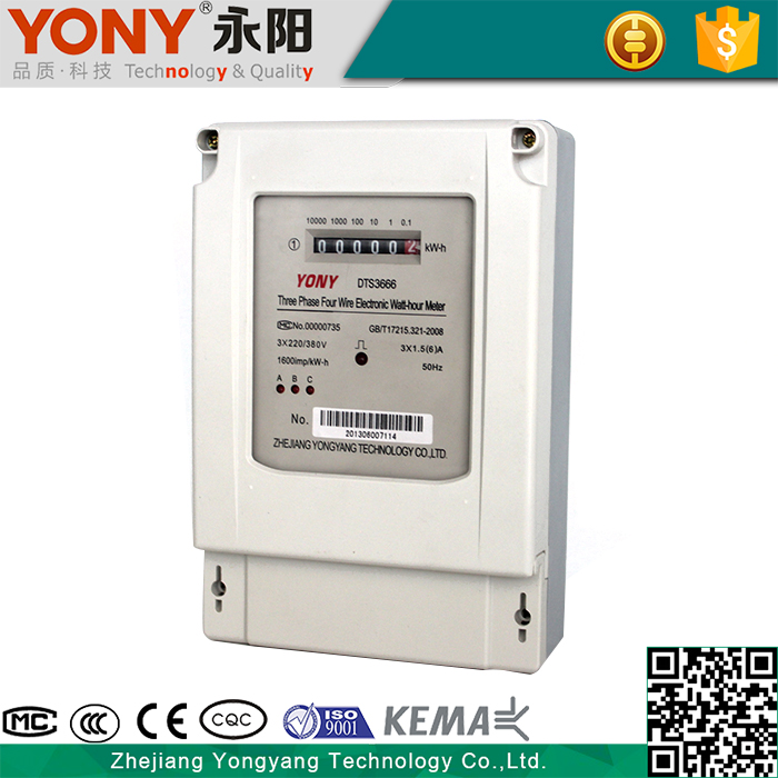 Electronic three phase Overload Detection digital kilowatt hour meter