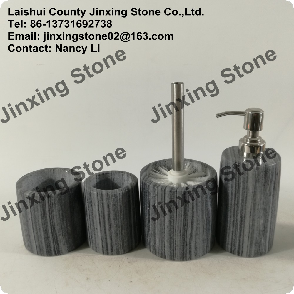 Marble bath ware bathroom accessories set liquid soap for Stone bathroom accessories sets