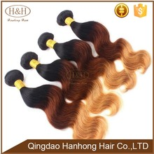 Fashion colored three tone hair weave 1b 30 27 straight hair 7A grade colored Brazilian hair weave