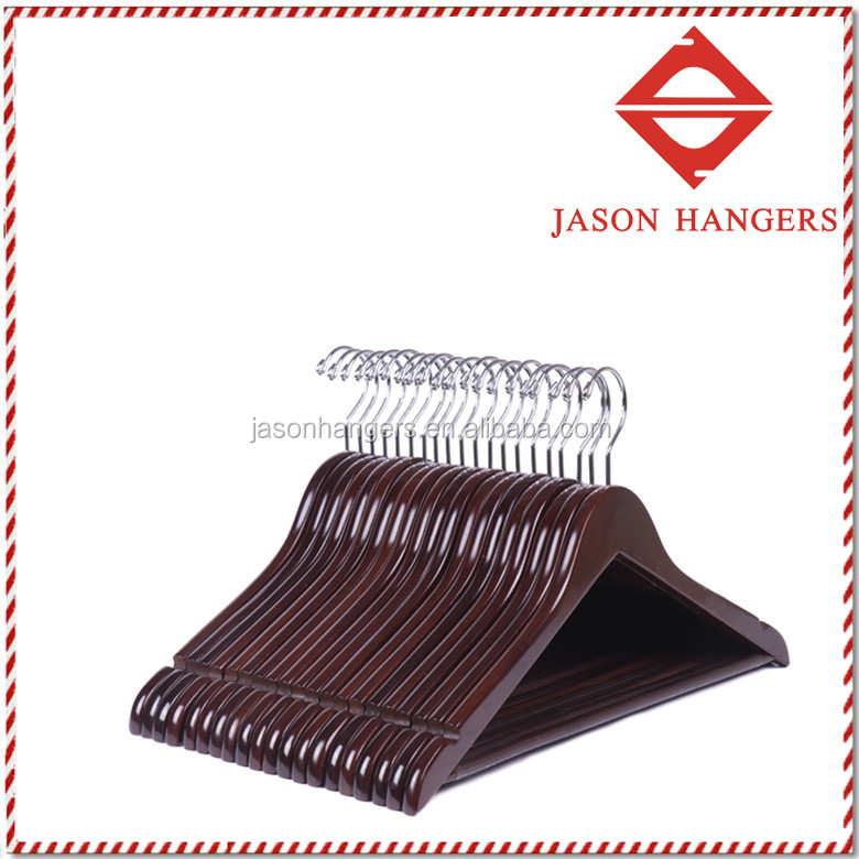Solid Wooden Coat/Jacket Hangers Clothes Hangers with chrome Hook