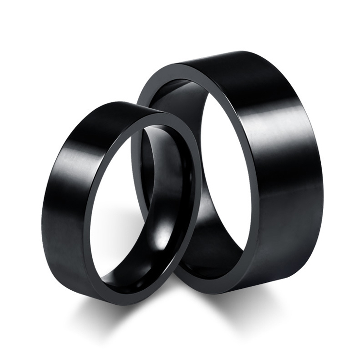 Get Quotations · Classic Black Ion Plating Stainless Steel Engagement  Wedding Bands Promise Anniversary Rings For Couples Men And