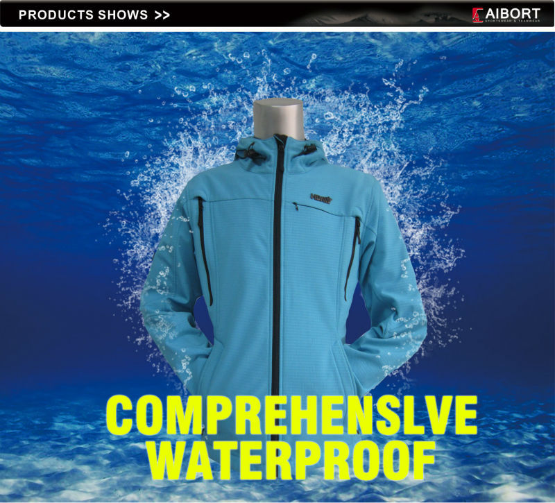 Women's Waterproof Breathable Blue Soft Shell Jacket in China