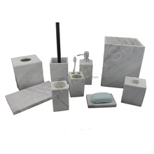 DS hot sale natural fancy china hotel white marble toilet set bathroom