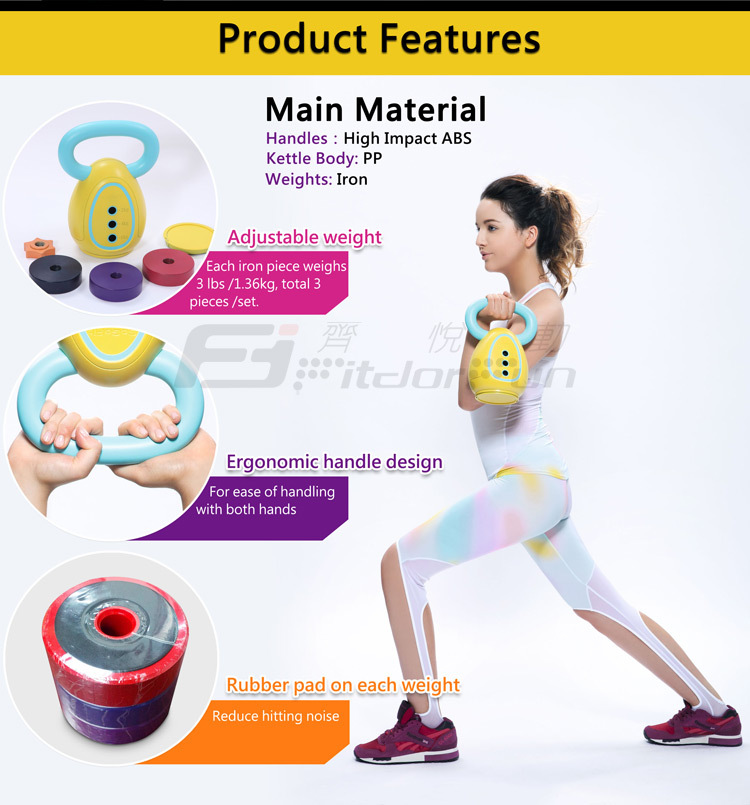 Feva Kettle Bell High Quality Hot Sale Colored PP Kettle Body Heavy Duty 3 Weights Hand Therapy Exercises Kettle Bell Swings