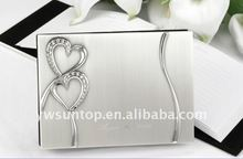 Fashion silver wedding guest book with rhinestone-studded heart Event & Party Supplies