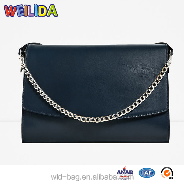 Handbags ladies 2016 PU Leather Handbags with Metal Chain