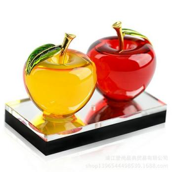 Best quality colorful crystal apple for business gift