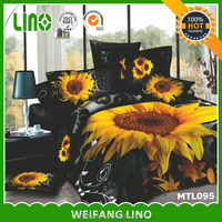wholesale 3d bedding set/cotton printing 3d bed sheet/3d sunflower design fabric 3d effect duvet cover