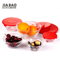 5pcs bowl set with horizontal lines & colors PP lid