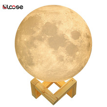 Supply 13cm, 15cm,18cm moon shape Rechargeable touch Sensor Night Light USB LED 3D Printing Moon Lamp with USB Charging Sensor