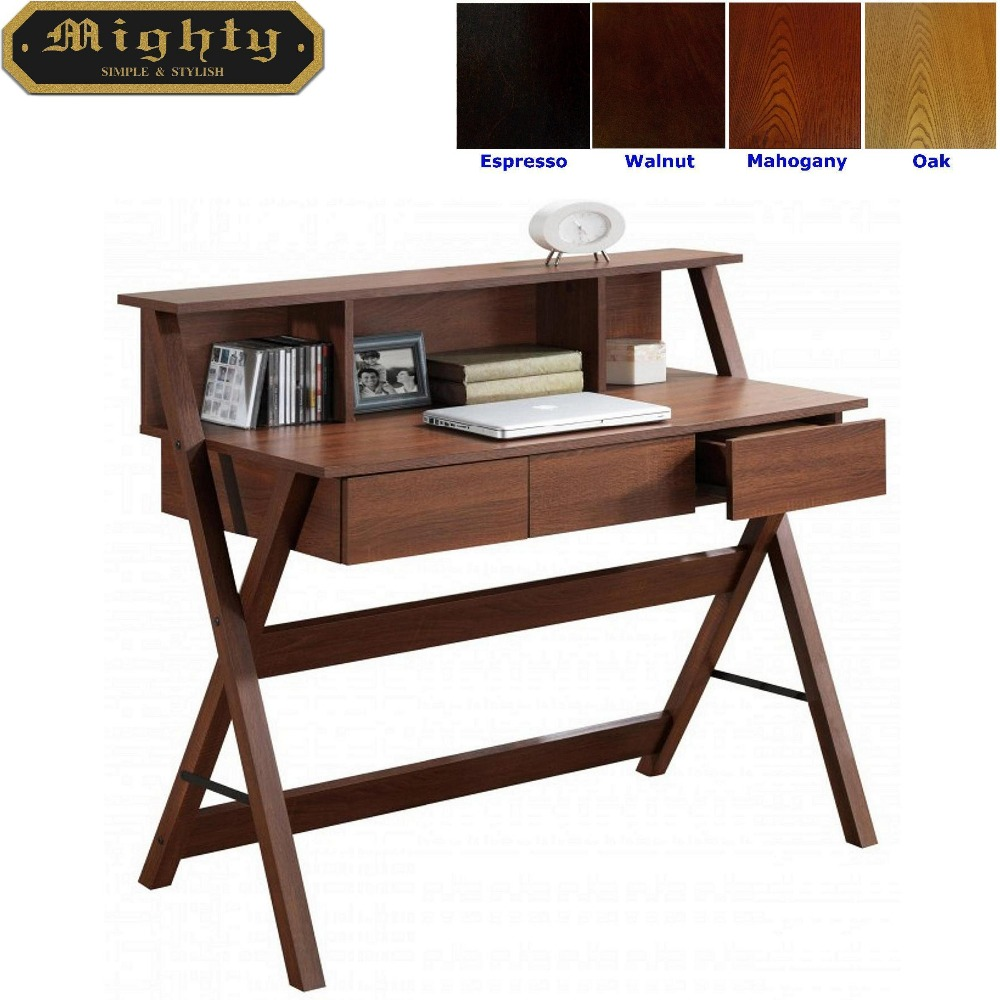 Wooden Hutch Top Workstation Computer Desk With Hutch
