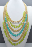 Mixed color teardrop pendant chain neklace Fashion jewellery accessary DN2117