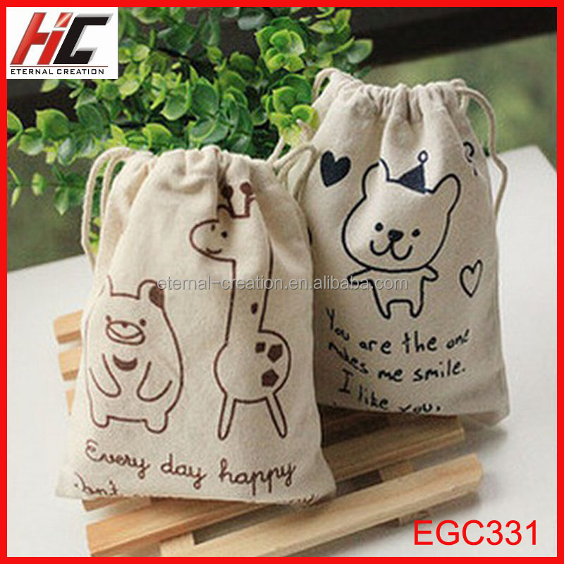 promotion wholesale mini jute drawstring bags printed cute phone key storage pouches
