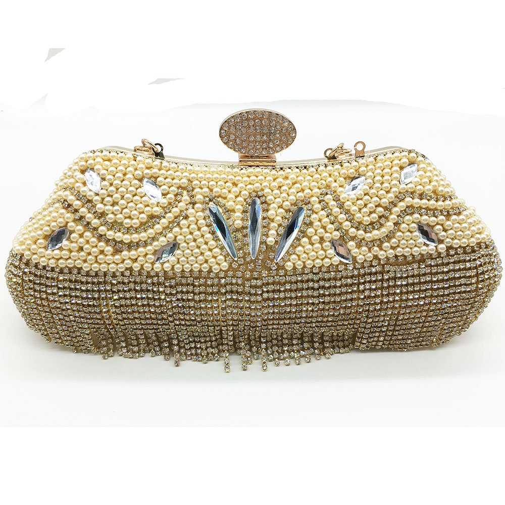 New arrival design Pearl beaded evening bags for ladies acrylic clutch bag