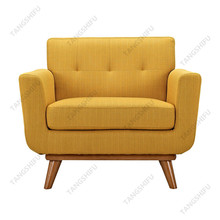 Hotel wood frame orange fabric relaxing tufted sofa chair