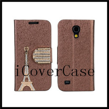 waterproof case for samsung galaxy s4 mini Diamond effiel tower leather wallet cover with 6 colors
