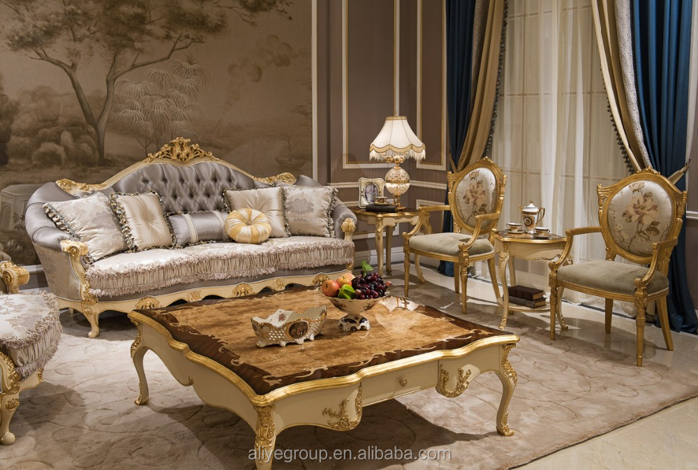 As09 Luxury Classical Wooden Living Room Set And Italian Antique Classic Fabric Sofa Furniture