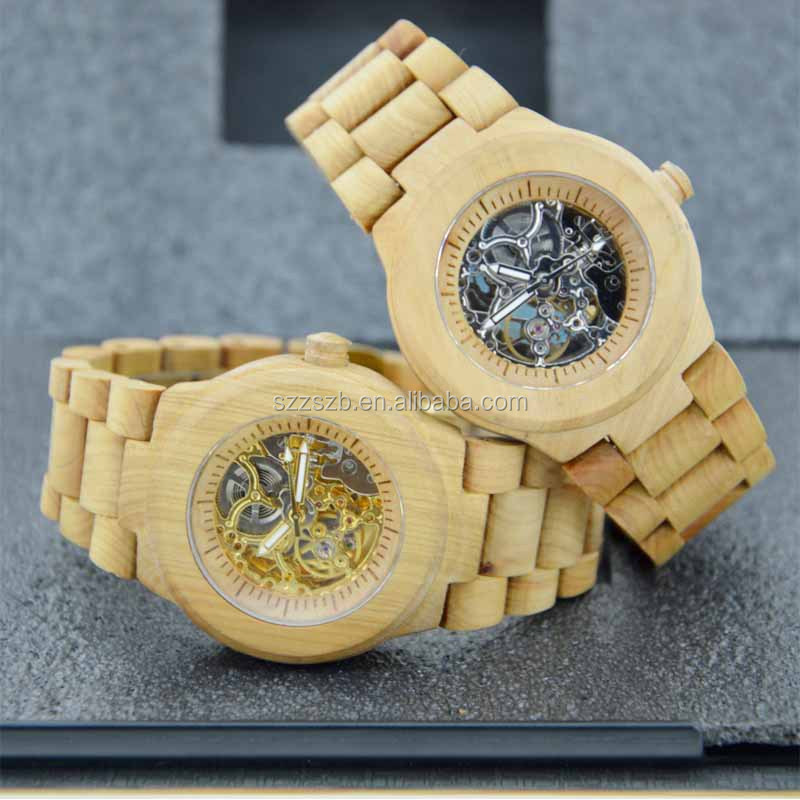 Bewell 2 years Warranty Natural Wood Japanese Quartz Movement Waterproof Gold Tone Watch