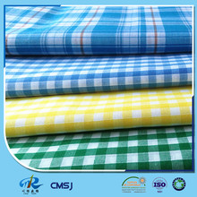 Chinese factory 45s yarn dyed poly cotton poplin plaid fabric