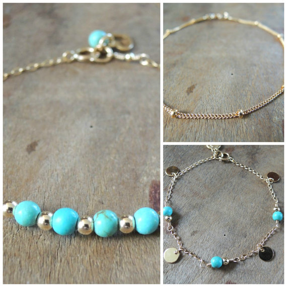 Set of 3 Turquoise Bracelet Set Gold Filled or Sterling Silver Delicate Bracelet Set Dainty Turquoise Bracelet