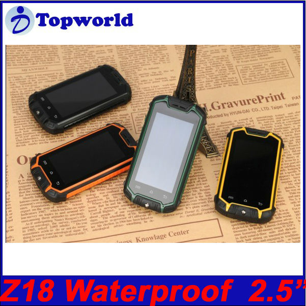 ROM 256 Shockproof Dustproof Mobile Phone Z18 Android 4.0.4 waterproof 2.0MP rear camera 2.5 inch MTK6572 daul core