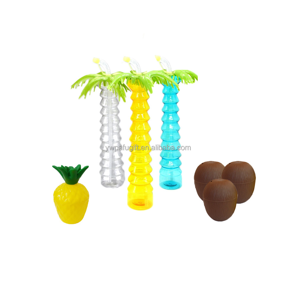 hawaiian coconut drink cup PET cup luau tropical plastic palm tree sipper cups with straw