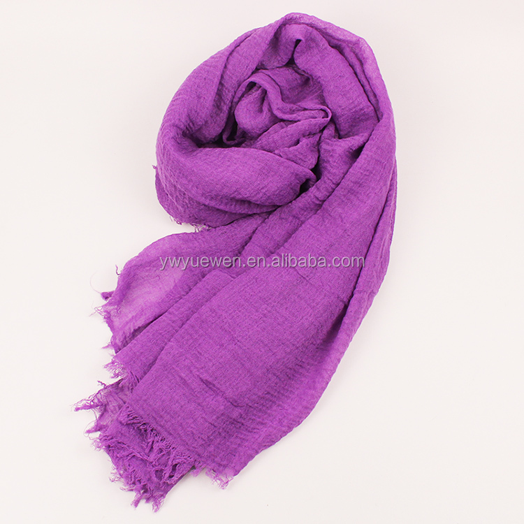 Fashion solid color shawl scarf muslim women scarf hijab cotton crinkle hijab
