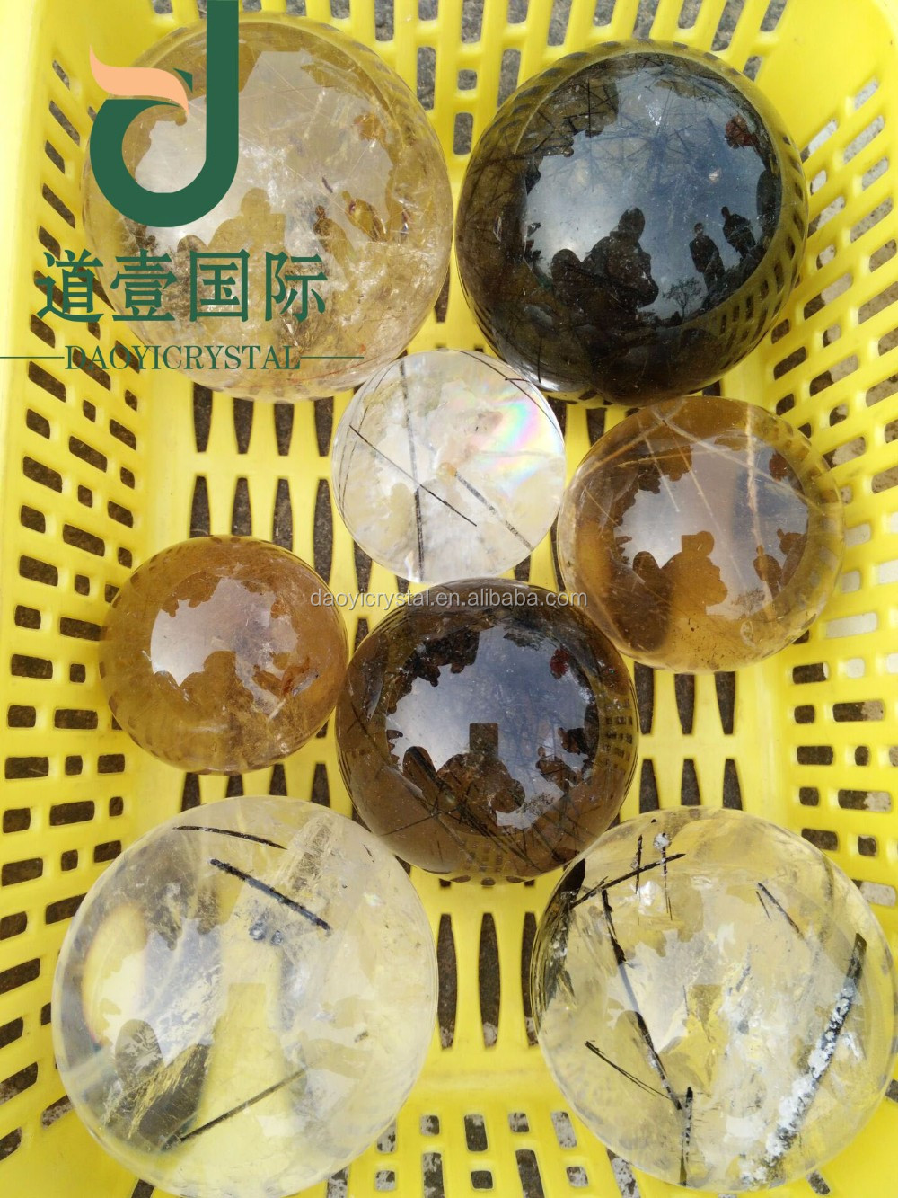 Wholesale natural clear black hair crystal ball rutilated quartz crystal ball