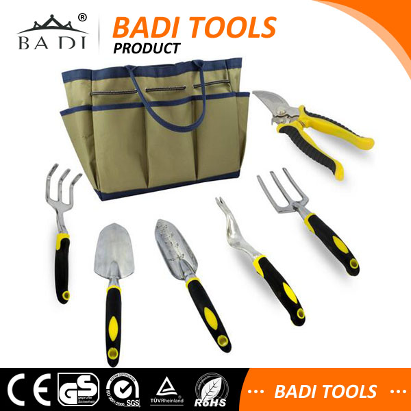 Amazon hot sale 7 pcs set aluminum alloy body 5pcs garden hand tool kit names shovel, cultivator, rake, fork and weeder