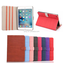 Wood Strain Leather Case Cover For Apple iPad mini 4 Case With Stand Card