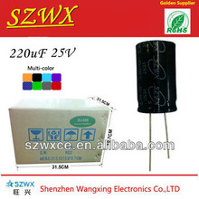 China reputed brand SZWX electrolytic capacitor manufacturer 220uf 25v