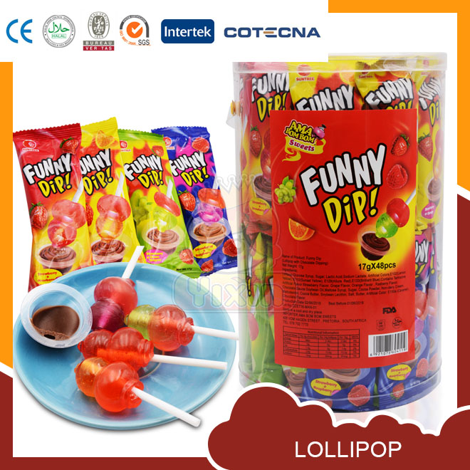Funny Dip color fruit flavor lollipop with chocolate jam cup