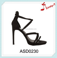 New fashion girls latest cheap price high heel sandals back zipper party wear sandals